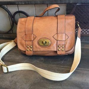 Fossil leather messenger bag handbag Cognac
